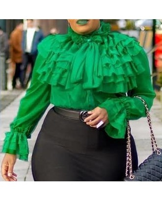 Lovely Casual Flounce Design Green Plus Size Blouse