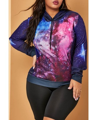 Lovely Trendy Printed Blue Plus Size Hoodie
