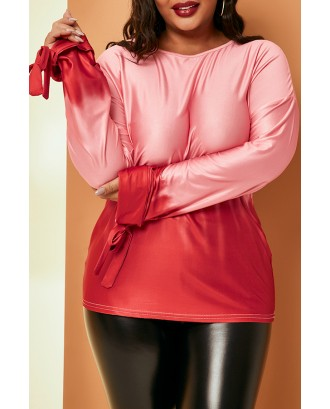 Lovely Casual Gradual Change Printed Red Plus Size Blouse