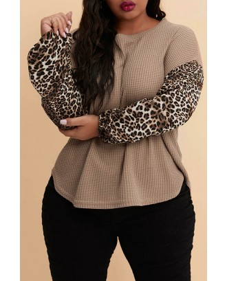 Lovely Casual Patchwork Khaki Plus Size Hoodie