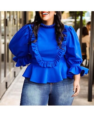 Lovely Trendy Flounce Patchwork Blue Plus Size Blouse