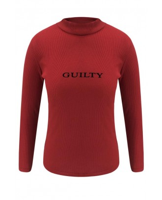 Lovely Casual Letter Printed Red T-shirt