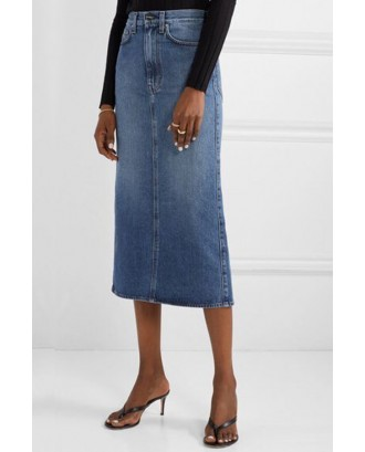 Lovely Casual Basic Blue Knee Length Skirt