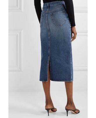 Lovely Casual Basic Blue Knee Length Skirt