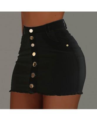 Lovely Casual Buttons Design Black Mini Skirt