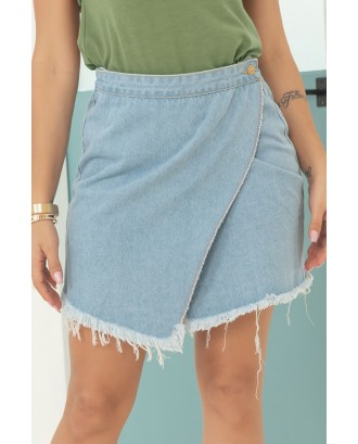 Lovely Casual Asymmetrical Baby Blue Mini Skirt