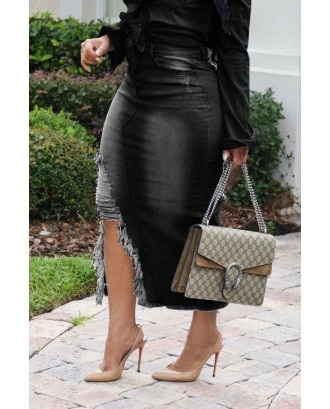 Lovely Casual Broken Holes Slim Black Denim Mid Calf Skirts