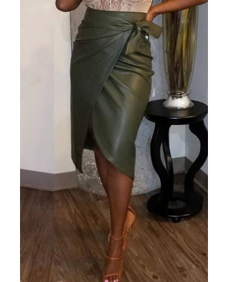Lovely Casual Asymmetrical Blackish Green PU Knee Length Skirt