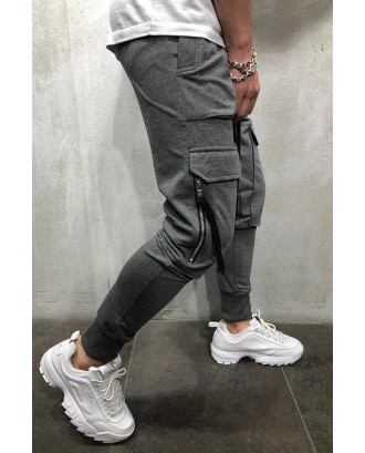 Lovely Casual Pocket Grey Pants