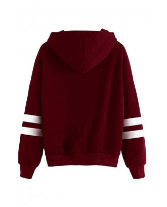 Lovely Casual Hooded Collar Wine Red  Hoodie